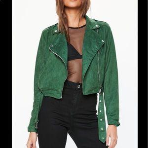 Green suede cropped biker jacket